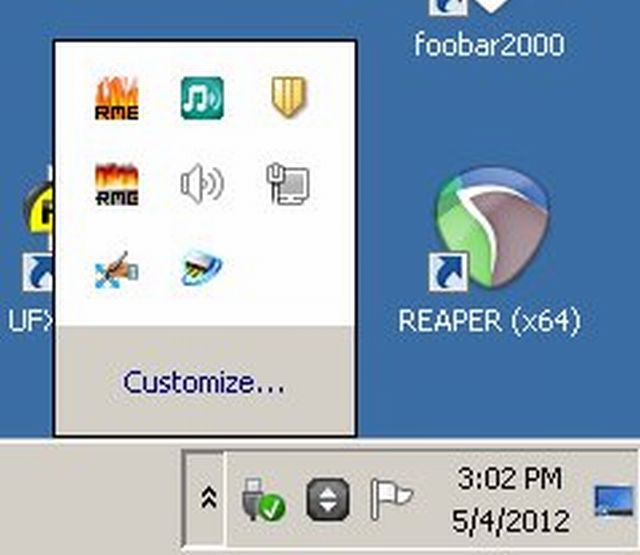 Windows System Tray opened to show volume control